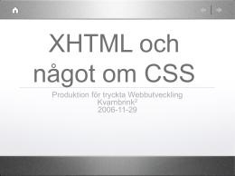 XHTML och CSS del 1