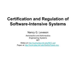 Certification and Regulation of Software-Intensive