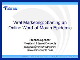 Viral Marketing: Starting a Word-of-Mouth Epidemic