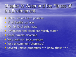 Chapter 3: Water and the Fitness of the Environment
