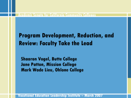 Program Development, Reduction, and Review: Faculty Take the Lead