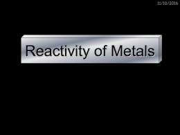 Reactivity of Metals
