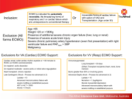 Exclusion criteria for ECMO - Alfred Intensive Care Unit