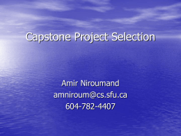 Capstone Project Selection