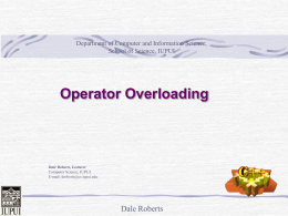 Operator Overloading - Department of Computer and Information