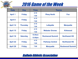 2016 Game of Week Schedule - Ballwin Athletic Association