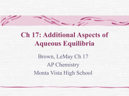 Ch 17: Additional Aspects of Aqueous Equilibria - mvhs