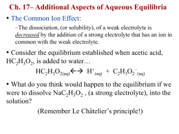 Ch. 17– Additional Aspects of Aqueous Equilibria