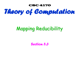 Mapping reducibility - Villanova Computer Science