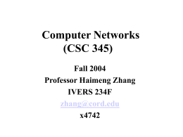 Computer Networks (CSC 345)