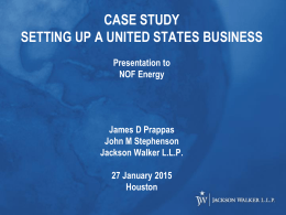 CASE STUDY SETTING UP A UNITED STATES BUSINESS