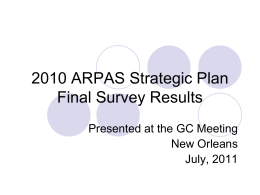 2010 ARPAS Strategic Plan Interim Survey Results