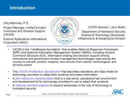 UICDS Kick Off - Center for Emergency Response Technologies