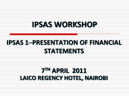 IPSAS 1 - Presentation of Financial Statements
