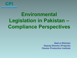 Environmental Legislation in Pakistan Compliance Perspectives