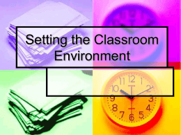 Setting the Classroom Environment