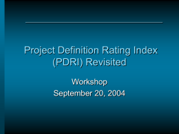 PDRI Industrial Projects - Construction Industry Institute