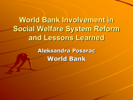 World Bank involvement in social welfare system reform and