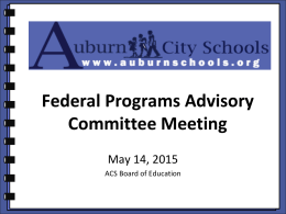 Federal Program Advisory Meeting, 2015