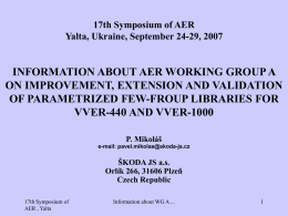 17th Symposium of AER Yalta, Ukraine, September 24