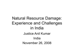 Natural Resource Damage: Experience and Challenges