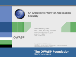 An Architect`s View of Application Security