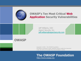 OWASP`s Ten Most Critical Web Application Security Vulnerabilities