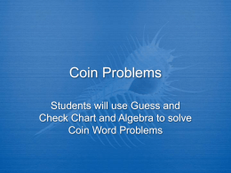 Coin Problems - Jamestown Public Schools