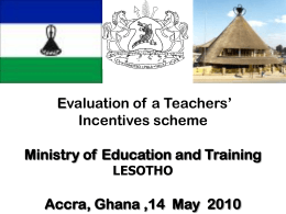 Evaluating teachers Incentives Scheme