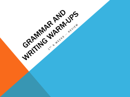 Grammar and writing warm-Ups