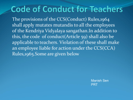 Code of Conduct for Teachers - Kendriya Vidyalaya Army Area-Pune