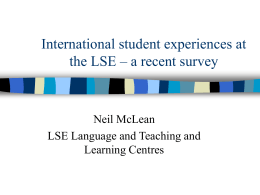 International student experiences at the LSE