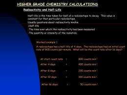 H Calculations - radioactivity and half