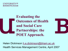 Evaluating health and social care partnerships and their outcomes