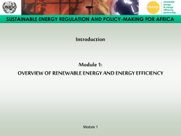 SUSTAINABLE ENERGY REGULATION AND