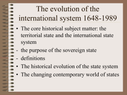 The evolution of the international system 1648-1998