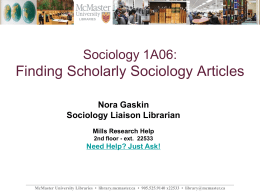 Sociology 1A06: Finding Books and Articles