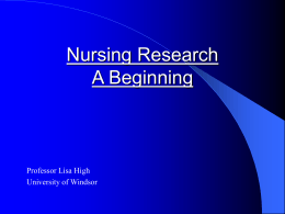 Nursing Research - University of Windsor