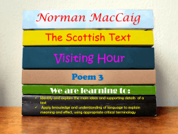 Visiting Hour – Annotation - Mr Clark