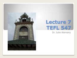 Lecture 7 TEFL 547