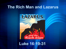 The Rich Man and Lazarus - Knollwood Church Of Christ