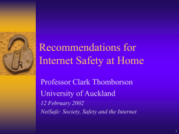 Recommendations for Internet Safety at Home