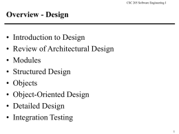 Overview - Structured and Detailed Design