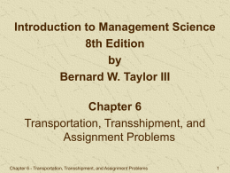 Transportation Model Example Computer Solution with Excel