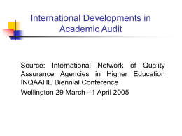 International Developments in Academic Audit