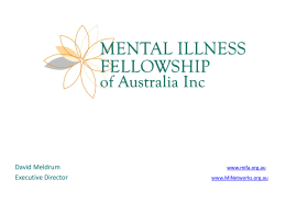 Mental Illness Fellowship Australia, David Meldrum