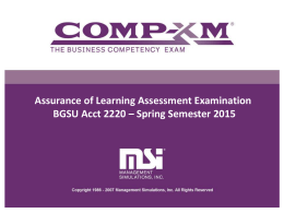 Spring Semester 2015 Comp-XM Exam Overview