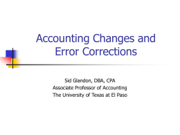Chapter 22: Accounting for Changes and Error Analysis