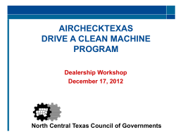 AIRCHECKTEXAS DRIVE A CLEAN MACHINE Buyer`s Order