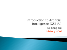 History of AI - School of Computer Science
